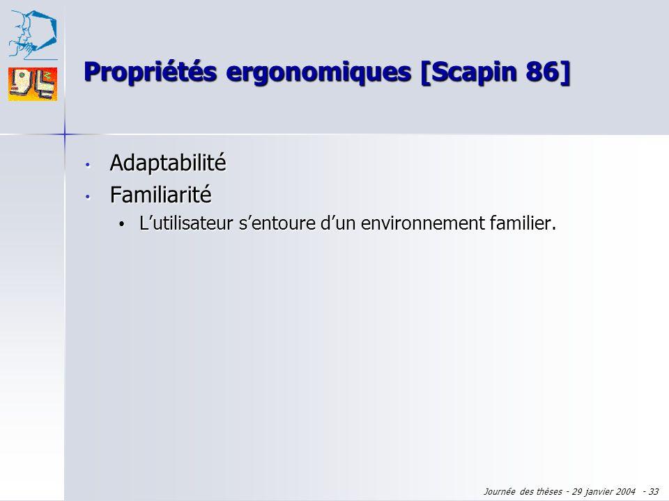 Propriétés ergonomiques [Scapin 86]